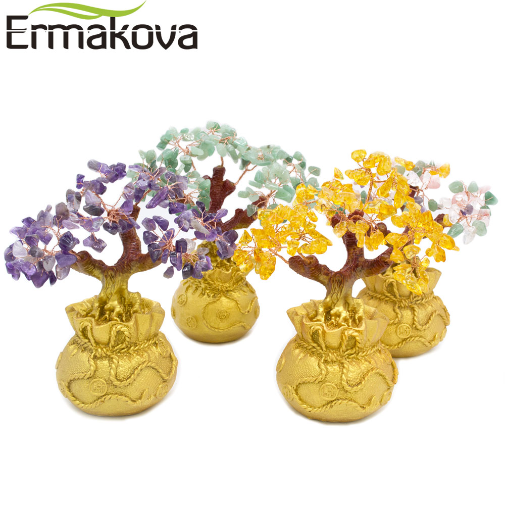 ERMAKOVA 6.7 Inch Tall Mini Crystal Money Tree Bonsai Style Wealth Luck Feng Shui Bring Wealth Luck Home Decor Birthday Gift
