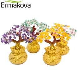 Ermakova 6.7 Polegada altura mini cristal dinheiro árvore bonsai estilo riqueza sorte feng shui trazer riqueza sorte casa decoração presente de aniversário