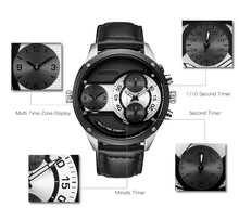 New Luxury Brand Men Watch Quartz Watches Big Design Dual Time Zone Casual Military Waterproof Wristwatch