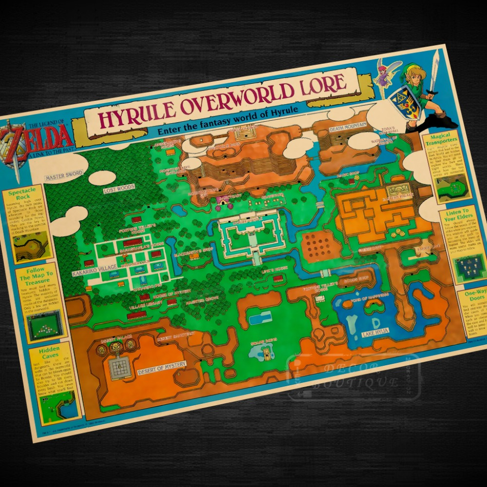 STICKER POSTER A4 JEUX VIDEO A LINK TO THE PAST MASTER SWORD IN A LOST WOOD.