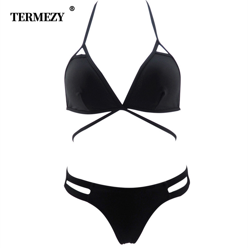 Ultra-thin Sexy   Bra     Set   Bandage Temptation Black Underwear Sexy Women Lingerie   Set     Bra  +G-string Underwear   Set   Girl bar Swimsuit