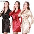 Satén de seda Del Kimono Trajes Para Mujeres Ropa de Manga Larga ropa de Dormir Pijamas Ladies Camisón Robe Femme A11