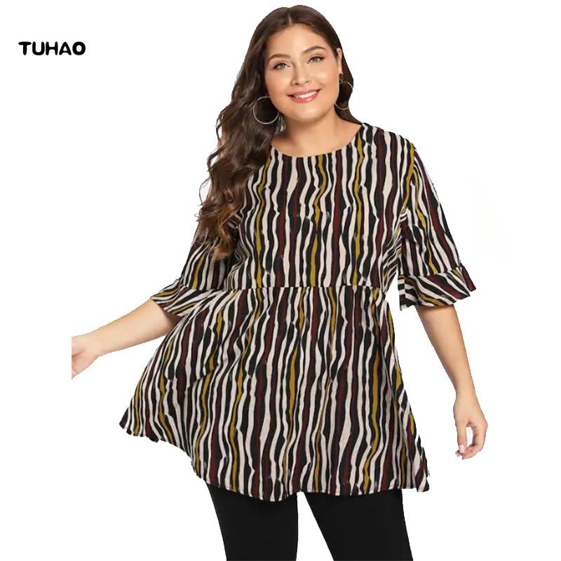 4381fbf3457e TUHAO 2019 Oficina señora mujer blusa larga talla grande 4XL 3XL mujeres  rayas verano Mujer Camisas ...