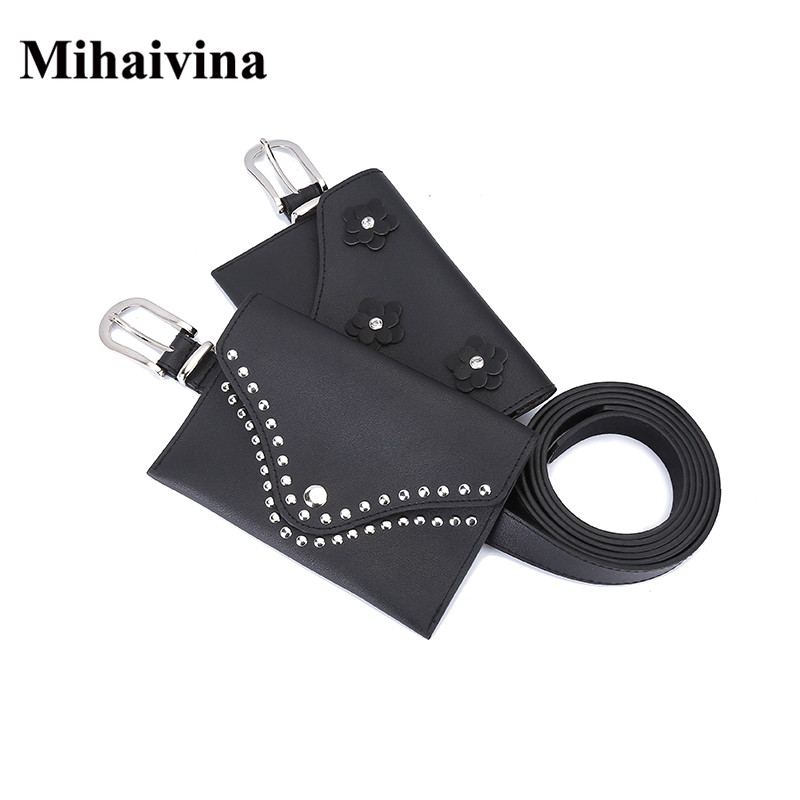 Mihaivina Fashion Women Hand Free Bag 2018 Women Leather Waist Belt Bag Fit For Iphone X/8 plus Female Pouch Money Bag