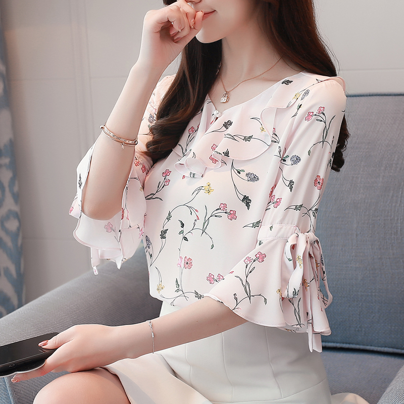 Blusa Ruffled Floral Chiffon Blouse Women 39 s Short Sleeve Shirt 2019 Summer V Neck Shirt Women Blouses in Blouses amp Shirts from Women 39 s Clothing