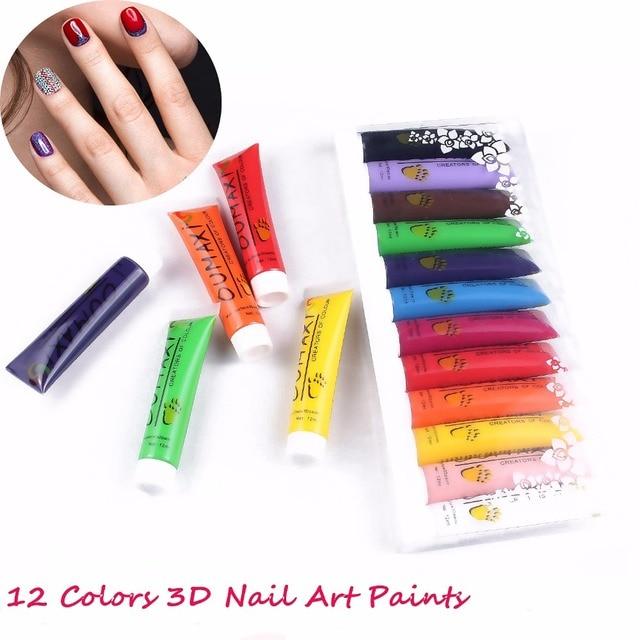 Aliexpress buy free shipping 12 colors oumaxi acrylic paint free shipping 12 colors oumaxi acrylic paint nail art polish 3d paint decor design tips tube prinsesfo Choice Image