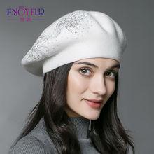 ENJOY FUR Зимние Осень берет шляпу для женщин вязаный кашемир шерсть берет с цветочным декором сплошных цветов Мода леди шапка(China (Mainland))