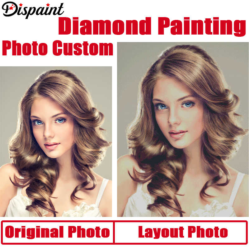 Dispaint Photo Custom Diamond Painting Cross Stitch Full Square/Round Rhinestone DIY Diamond 3D Diamond Embroidery Gift Sale