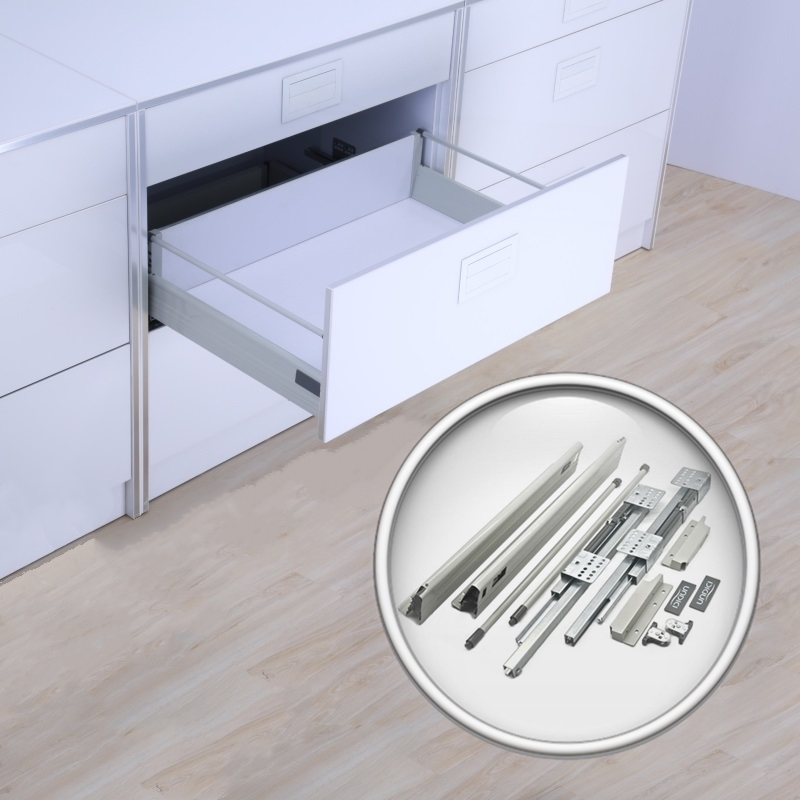 Soft Closing Drawer Slides Depth 20 INCH Double Wall Sliding Tandem Box