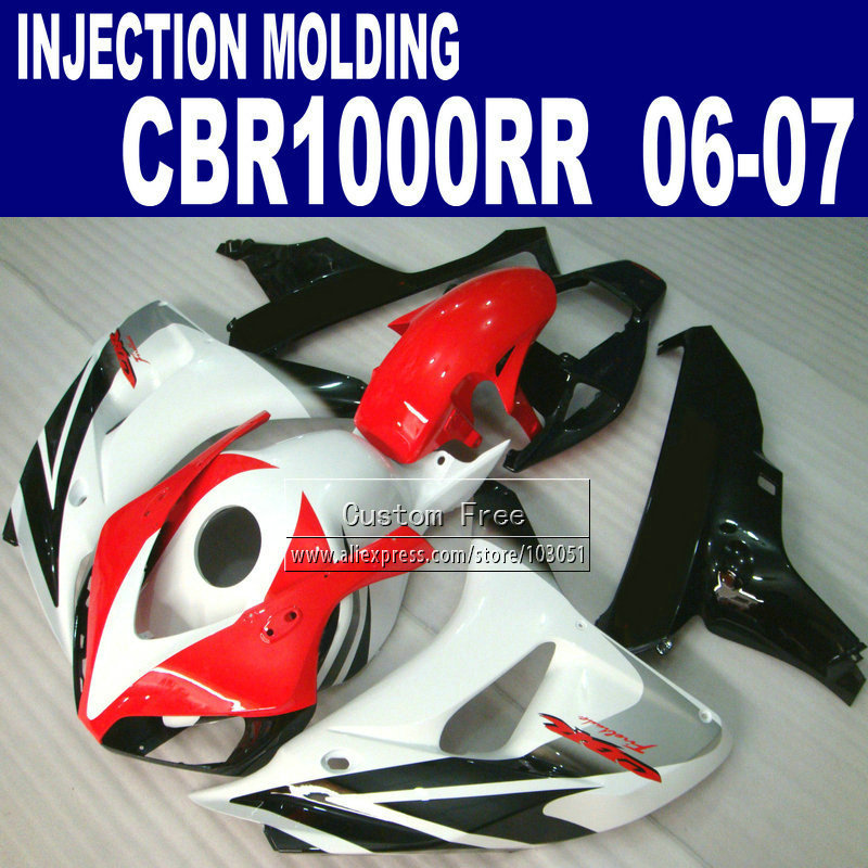Custom abs injection motorcycle fairings kit for cbr1000rr 2006 2007 cbr 1000 rr 06 07 cbr 1000rr whi