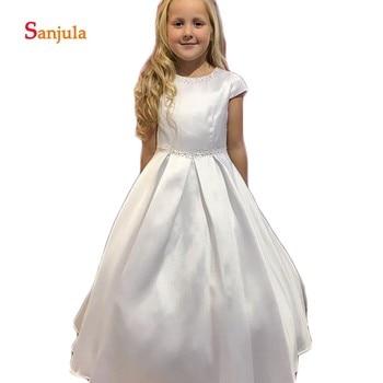 Cap Sleeve A-Line White Satin Flower Girls Dresses Beaded Sequins Child First Communion Dress with Pockets communie jurk D332