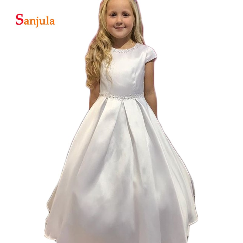 Cap Sleeve A-Line White Satin   Flower     Girls     Dresses   Beaded Sequins Child First Communion   Dress   with Pockets communie jurk D332