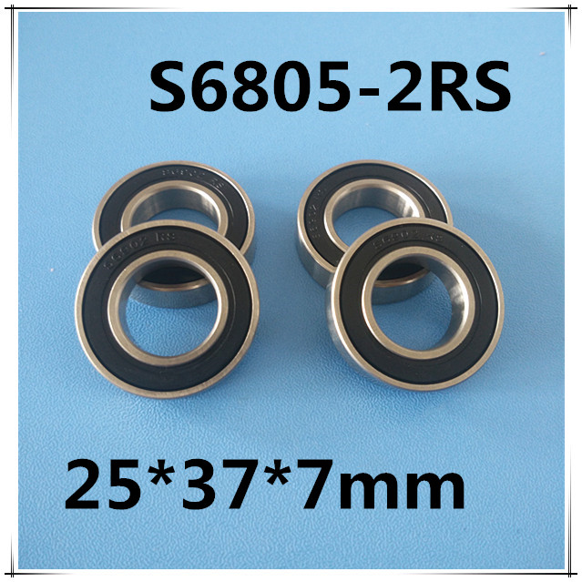 Free shipping 4PCS 25x37x7 Stainless steel hybrid ceramic ball bearing S61805 2RS CB / S6805 2RS CB ABEC5 bicycle bearing