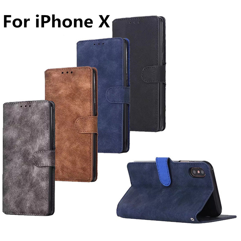Genuine Vintage Leather Case for iPhone X Flip Case Retro Stand ...