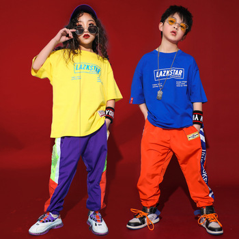 Сценический костюм для бальных танцев Детская уличная Одежда для танцев одежда в стиле джаз и хип-хоп детская свободная хип-хоп футболка и ш...