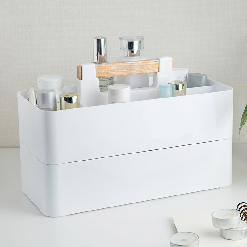 Wooden handle Desktop Office Cosmetics Storage Boxes DIY assembly Storage Box Stationery Finishing Boxes 32*15*12.5cm