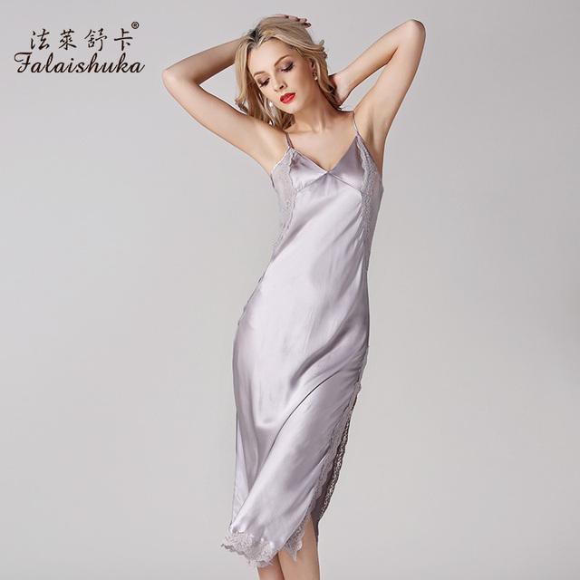 100% Camisolas De Seda Com Decote Em V Sem Mangas Mulheres Sleepwear Sexy Lace Verão Mid-Calf Comprimento D14022 Nightdress Pijamas de Seda Pura