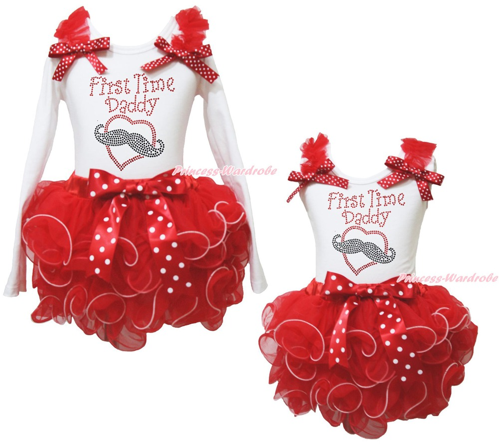 Valentine First Time Daddy Mustache Heart White Top Red Petal Girls Skirt NB-8Y тостер ariete 186 party time red