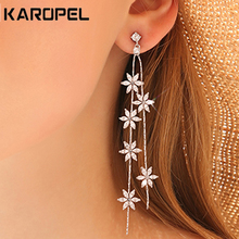 Korean Crystal Petals Long Tassel Drop Earrings Cubic Zircon Flower Earring for Women Wedding Party Jewelry