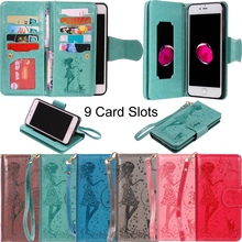 Fashion Women 9 Card Slots PU Leather Flip Wallet Case Soft Phone Cover Shell Coque for Apple iPhone 5 5S SE 6 6S 7 8 Plus X XS 3 card slots wallet crazy horse leather mobile case for iphone 7 plus 5 5 brown