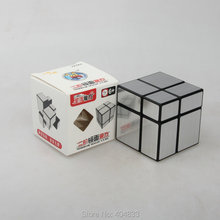 Shengshou Зеркало 2x2 куб серебро/золото/синий Cubo Magico развивающая игрушка для детей идея подарка