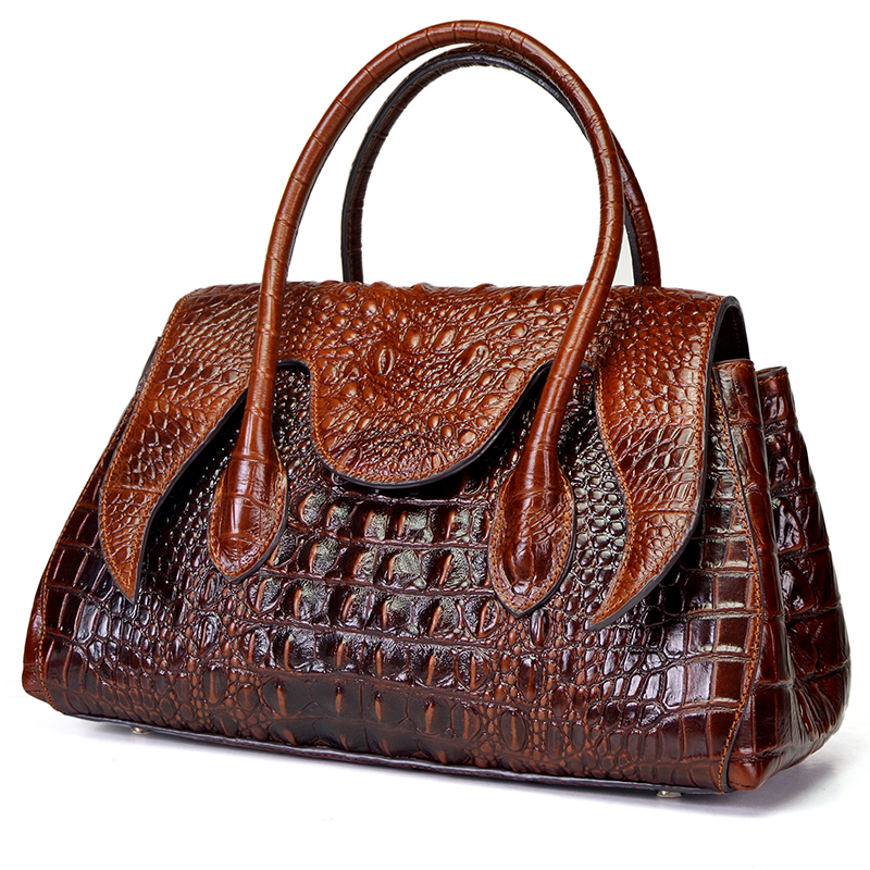 Women Shoulder Top Handle Bags Crocodile Pattern Retro Briefcase 100 Genuine Oil Wax Leather Cross Body