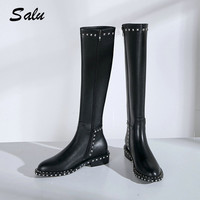 db1da1f31 ... Coxa Altas Dedo Pé Redondo 2018 Outono Inverno Mulheres Sapatos. US  $98.99 US $54.44. Salu Knee High Boots Female Genuine Leather Heels Black  Thigh High ...