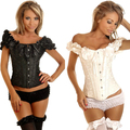 Gothic Sexy women's Corset Overbust Plus Size Bridal Ruffle Lace up Back corsets and bustiers Bridal Satin Corset Black/White