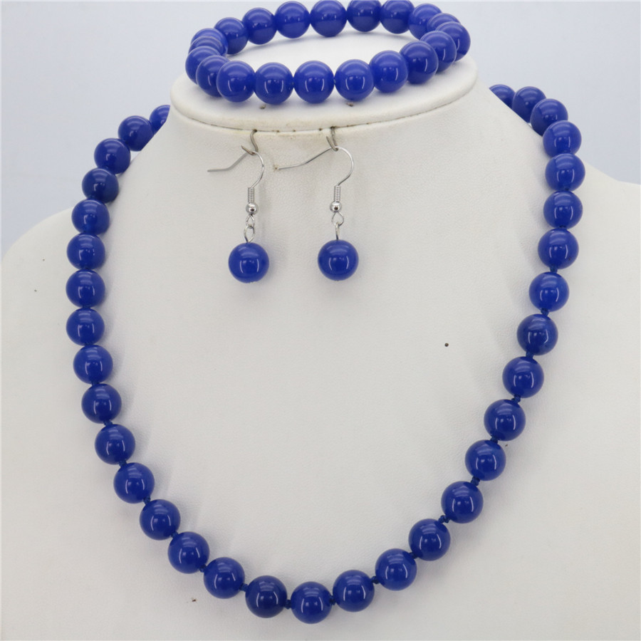 New beautiful Hot woman Fashion 10mm Blue Chalcedony Bead Stone set Necklace+Bracelet+Earrng jewelry sets Christmas gifts 18inch