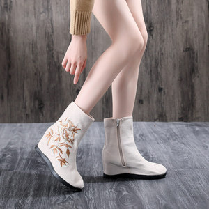 Image 5 - Veowalk Textile Suede Women Embroidered Short Ankle Boots 6.5cm Hidden Wedge Vintage Ladies Comfort Soft Cotton Booties Shoes