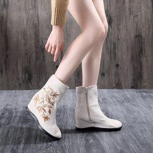 Image 5 - Veowalk tekstil süet kadın işlemeli kısa yarım çizmeler 6.5cm gizli kama Vintage bayanlar konfor yumuşak pamuk patik ayakkabı