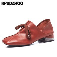 Натуральная кожа 10 42 размер 33 2018 женская обувь на низком каблуке квадратный носок Подиум высокое качество толстый винно красный 11 43 плюс 4 34