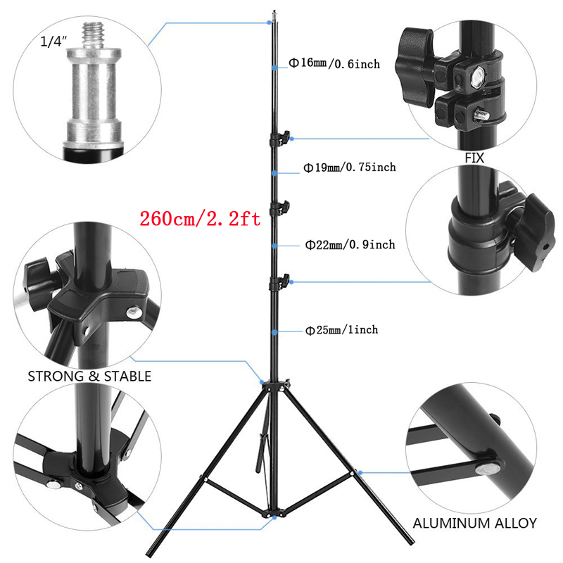 Lightupfoto 260cm Portable Photo Video Light Stand Studio Stand Tripod For DSLR Camera/Speedlite Softbox Photography PSS1K