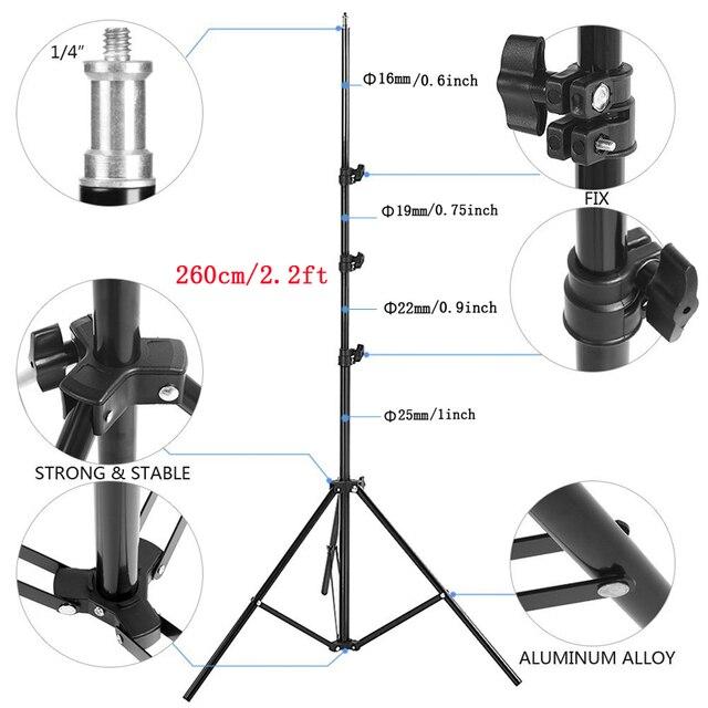 Lightupfoto 260cm Portable Photo Video Light Stand Studio Stand Tripod For DSLR Camera/Speedlite Softbox Photography PSS1K