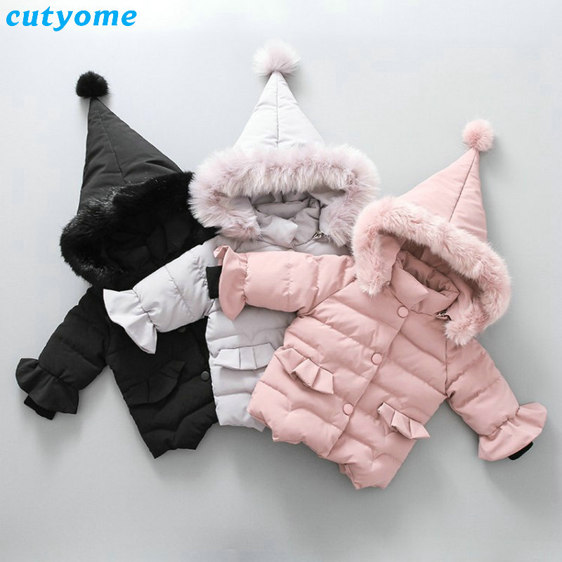 Winter Baby Girl Down Coat Thick Warm Faux Fur Parka Newborn Baby Girls Jacket Infant Toddler Hooded Outerwear Clothing 1-5Y 2017 new luxury faux fur coats fashion winter jacket for girls baby clothes parka elegant clothing little girl outerwear coat
