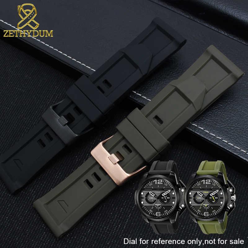 Pulseira de borracha de silicone para relógio diesel faixa 24mm 26mm dz7370 dz7333 dz7317 dzt2006 pulseira de relógio à prova dwaterproof água