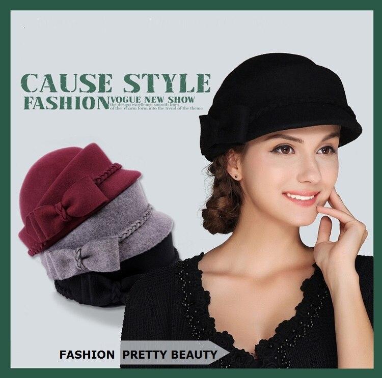 852c71f1e428e New Arrival Woman Autumn Winter Hat Lady Fashion Woolen Felt Hat Girls  Elegant Fashion Beret Cap British Leisure Cap