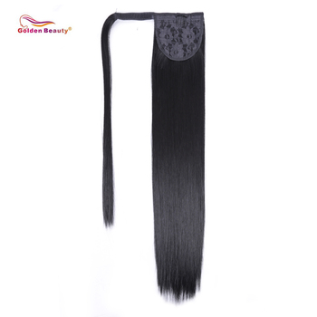 26inch Long Straight Ponytail Extension Wrap Around Synthetic Hair Extensions One Piece Hairpiece Ponytail Golden Beauty