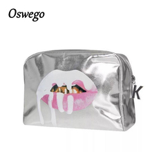 2018 Fashion Bling Bling Silver Lip PU Leather Toiletries Bag Zipper Storage Pouch Portable Women Travel Cosmetic Bag Kosmetikum-in Cosmetic Bags & Cases from Luggage & Bags on Aliexpress.com | Alibaba Group