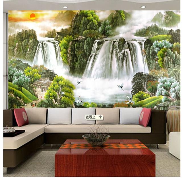 Large European Fresco Living Room TV Sofa Wallpaper Background Landscape Feng Shui Rising Sun Has