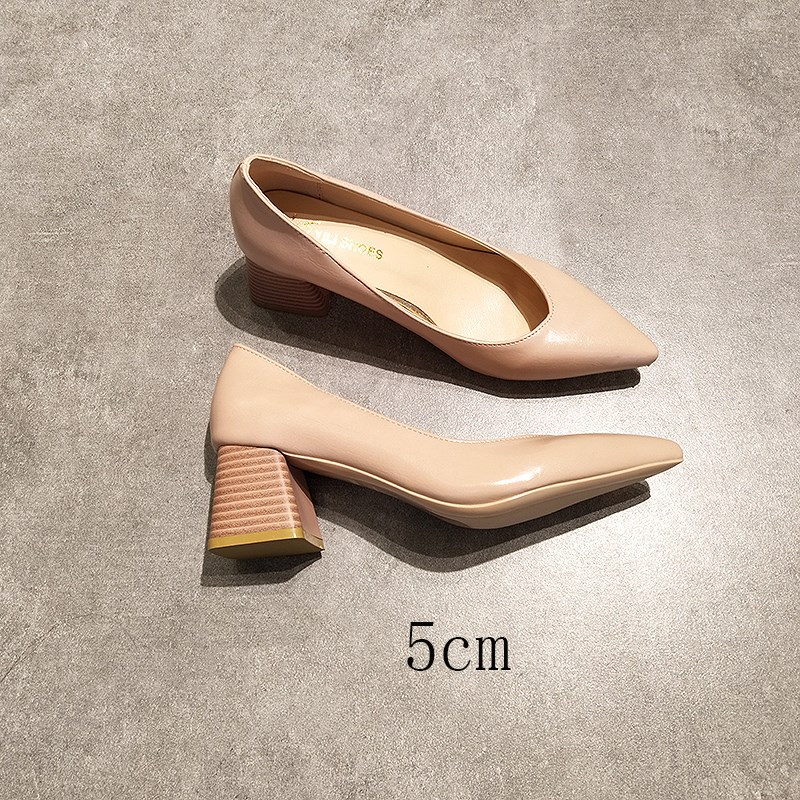 EOEODOIT Square Heels Pointed Toe Pumps Shoes Women Leather Med Heels V Mouth  Casual Office Lady OL Shoes 5 Cm Heel