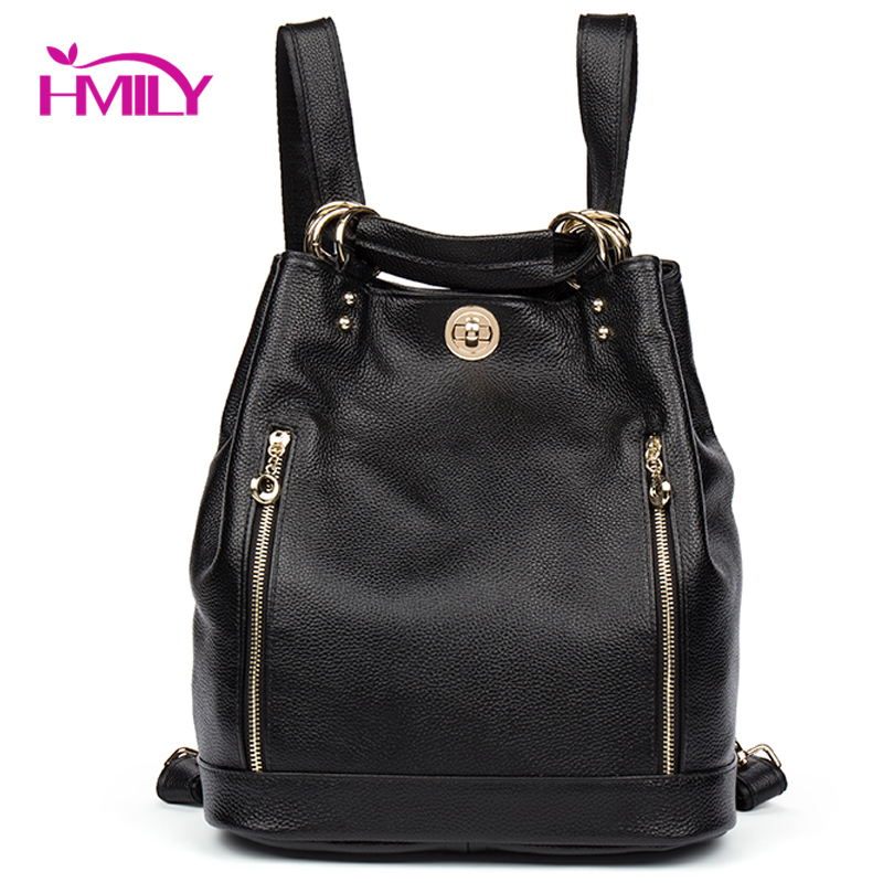 HMILY Genuine Leather Backpack Women Natural Leather Ladies Travel Bag Classic Black Women Bag Female Sweet Style School Bag hmily 2018 new leather women s bags personalized ladies bag metal stamp accessory backpack korean style wave backpacks