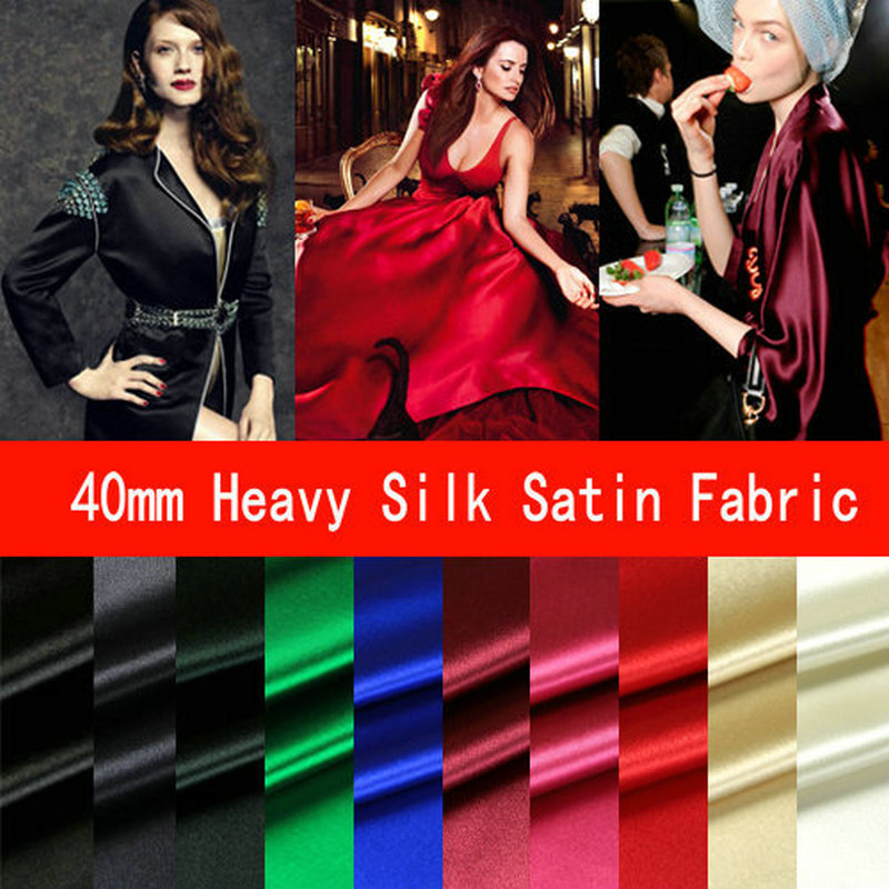 10 COLOR 40MM Heavy Silk Satin Fabric High Quality 2017 New Silk Fabric