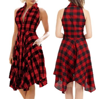 Plaid Dress Women vestidos sexy woman dress fiesta Vintage Sleeveless Zipper Irregular Dress Hem Evening Party vestido платье pocket patched plaid curved hem shirt dress