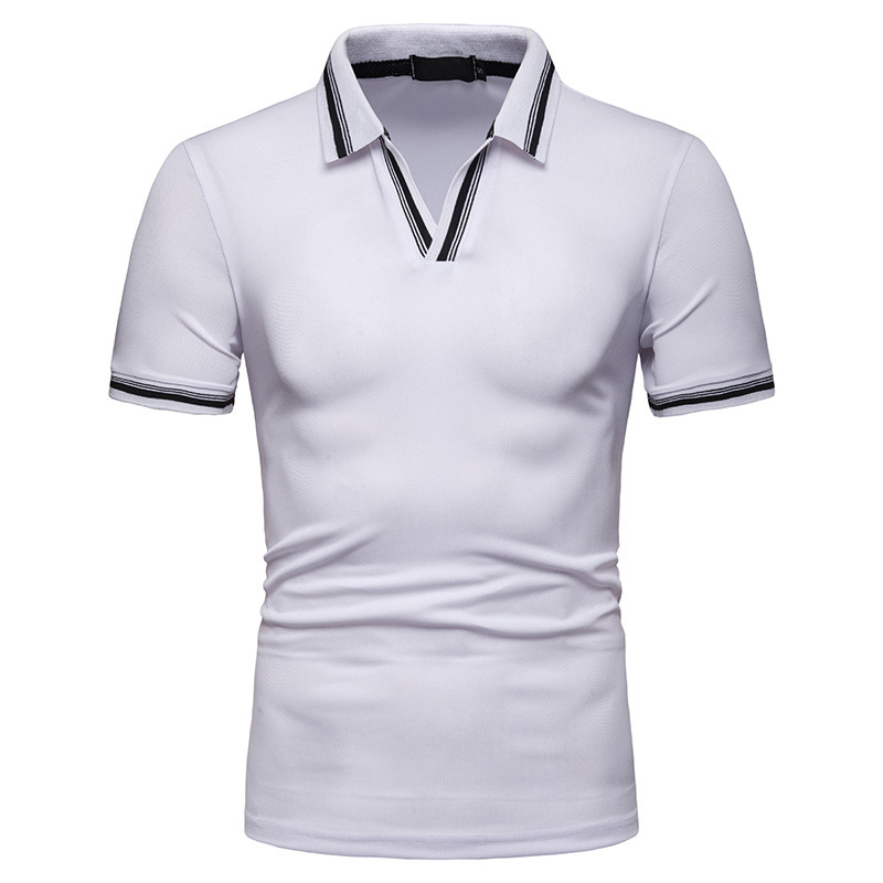 2019 Summer New V-neck Tight Short-sleeved   Polo   Shirt Men Fashion Business Casual Trend Quality Solid Color Mens   Polo   Shirts