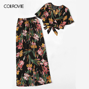 Image 5 - COLROVIE Plus Size V Neck Surplice Floral Print Blouse With Pants Women Boho Two Piece Set 2019 Summer Clothes Holiday Outfits