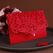 2016 NEW Vintage Wedding Supplies China Laser Cut Luxurious Wedding Invitations Red Elegant Wedding Invitation Paper