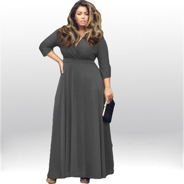 Summer Autumn Large Big Size Dress Women Plus Size Long Maxi Dresses