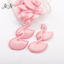 JOJO BOWS 10pcs Glitter Patches Shiny Pink Swan Embossed Accessories Garment Sewing Supplies DIY Craft Materials Home Decoration
