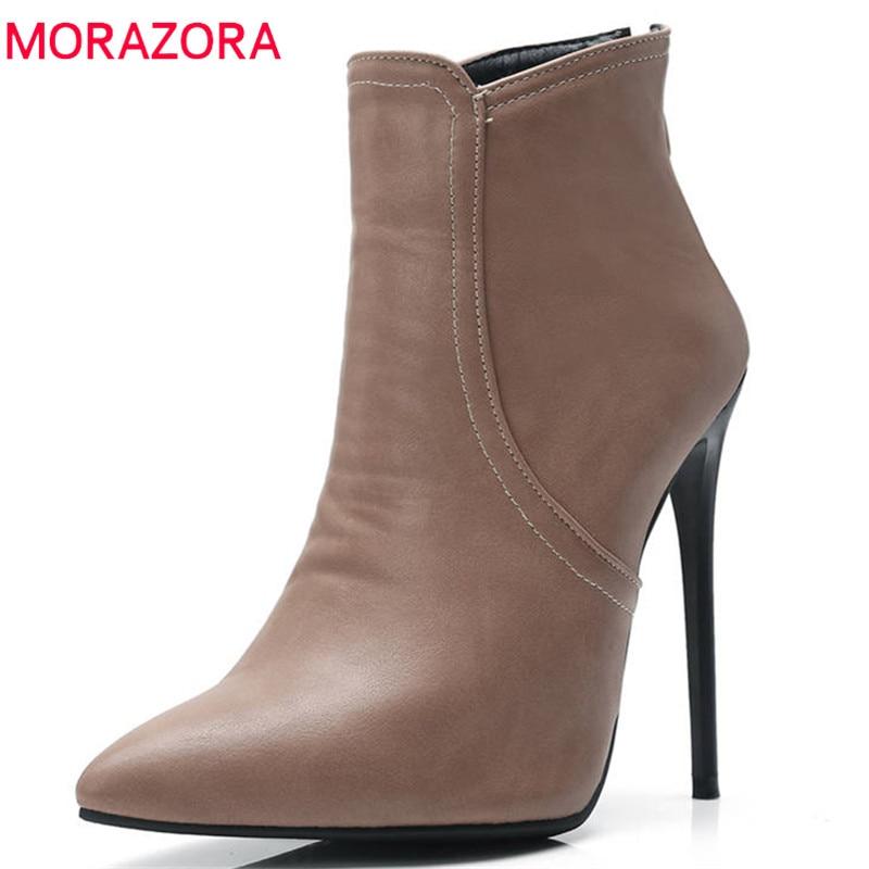 2848a5d9baee84 khaki Mince 2018 Morazora Date Mode Haute À ardoisé Chaussures Glissière  Cheville Hiver Sexy Bout Talons Fermeture Noir Bottes Femme ...